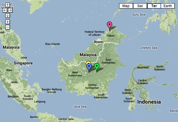 Map of Borneo. The green marker represents the mountain that we will be exploring.