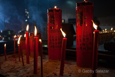 Candles in a Chinese Temple, Georgetown, Penang, Malaysia