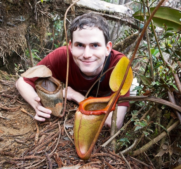 Rick with a giant pitcher plant (Nepenthes kinabaluensis).