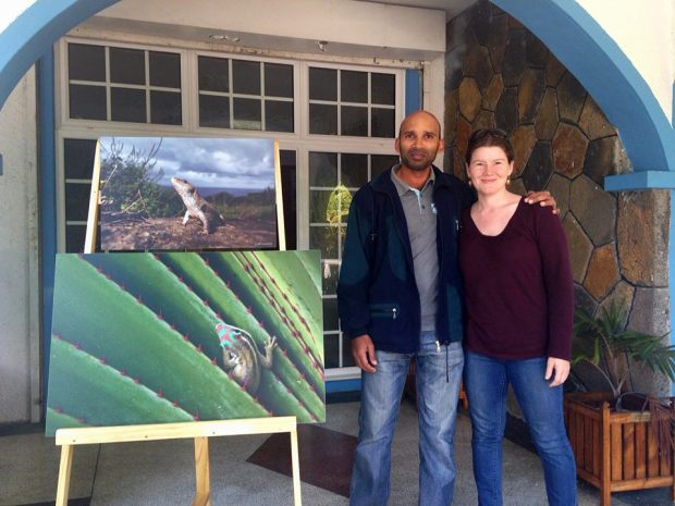 "Photo of me with the Conservation Director of The Mauritian Wildlife Foundation with two prints for the upcoming photo exhibition, ""Mauritius Beyond the Dodo."""