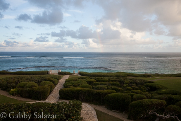 After the rain storm, a view from gardens by the ocean in Punta Cana, Dominican Republic.