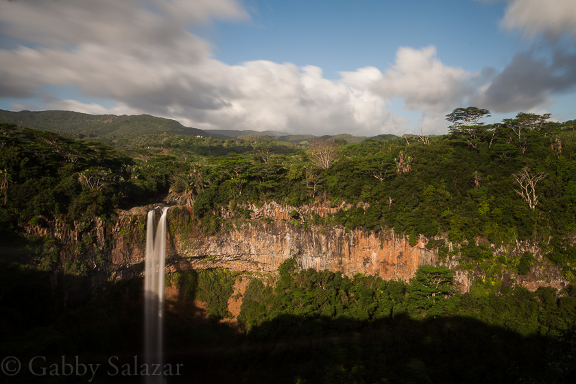 Chamaral Waterfall in the late evening, Black River, Mauritius.