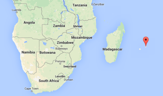 Map of Mauritius - see red dot.