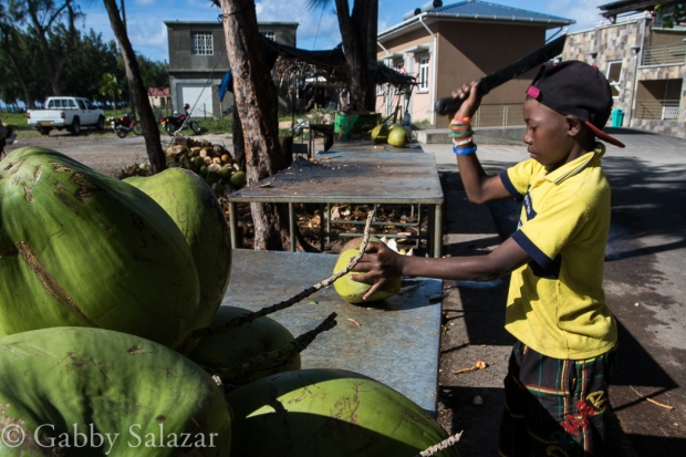 A young boy cuts open a coconut in Port Mathurin, the capital city of Rodrigues Island, Mauritius.