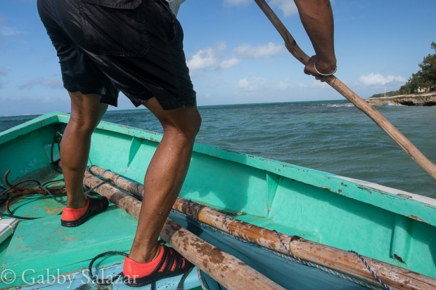 A pirogue in the Indian Ocean near Rodrigues Island